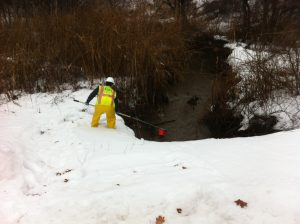 Collecting surface water samples in Connecticut
